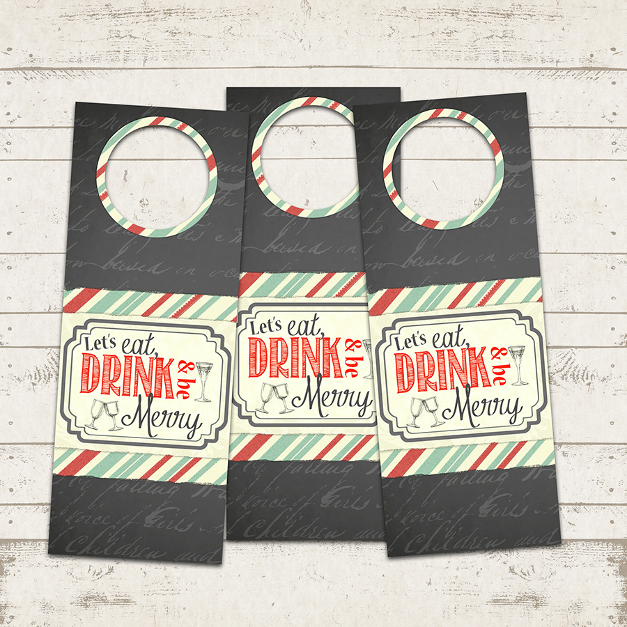 Valerie Pullam Designs | Christmas Wine Gift Tags - Eat ...