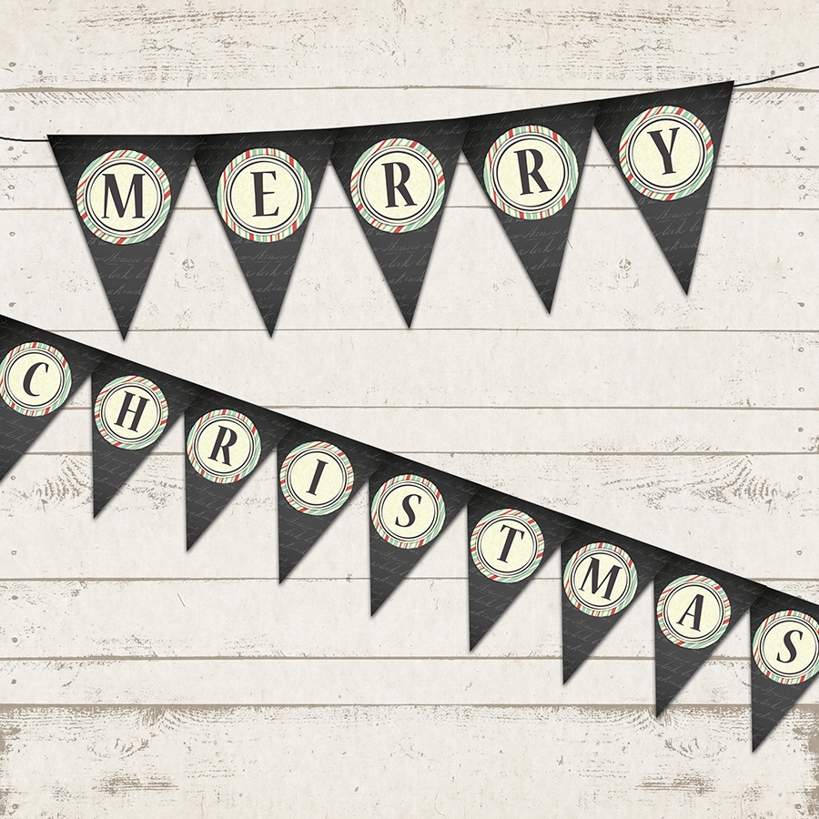 picture regarding Merry Christmas Banner Printable titled Xmas Banner - Merry Xmas - Vacation Banner - Printable Patterns - Chalkboard, Common, Stripes - Custom made towards Valerie Pullam Patterns