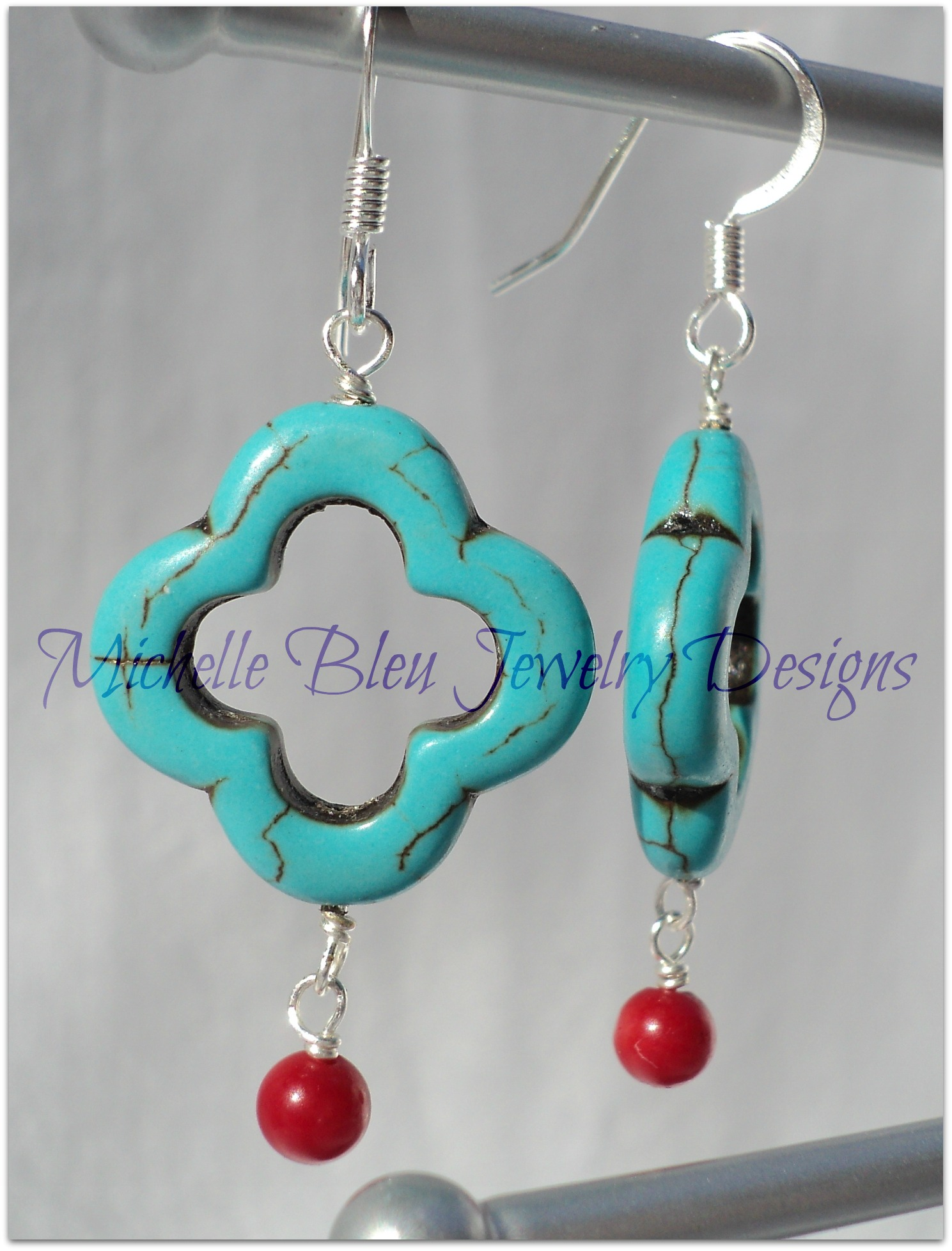 http://michellebleujewelry.storenvy.com/products/3480116-turquoise-and-red-carnelian-earrings