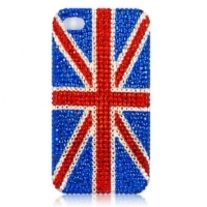 New Bling Bling Crystal UK Flag iPhone 4/4S Case (#435)