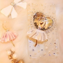 New Bling Crystal Heart With White Ballet Girl iPhone 4/4S Case (#437)