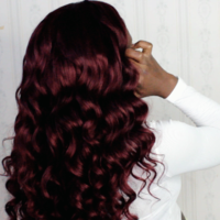 Burgundy Human Hair Frontal wig ( Handmade) - Thumbnail 4