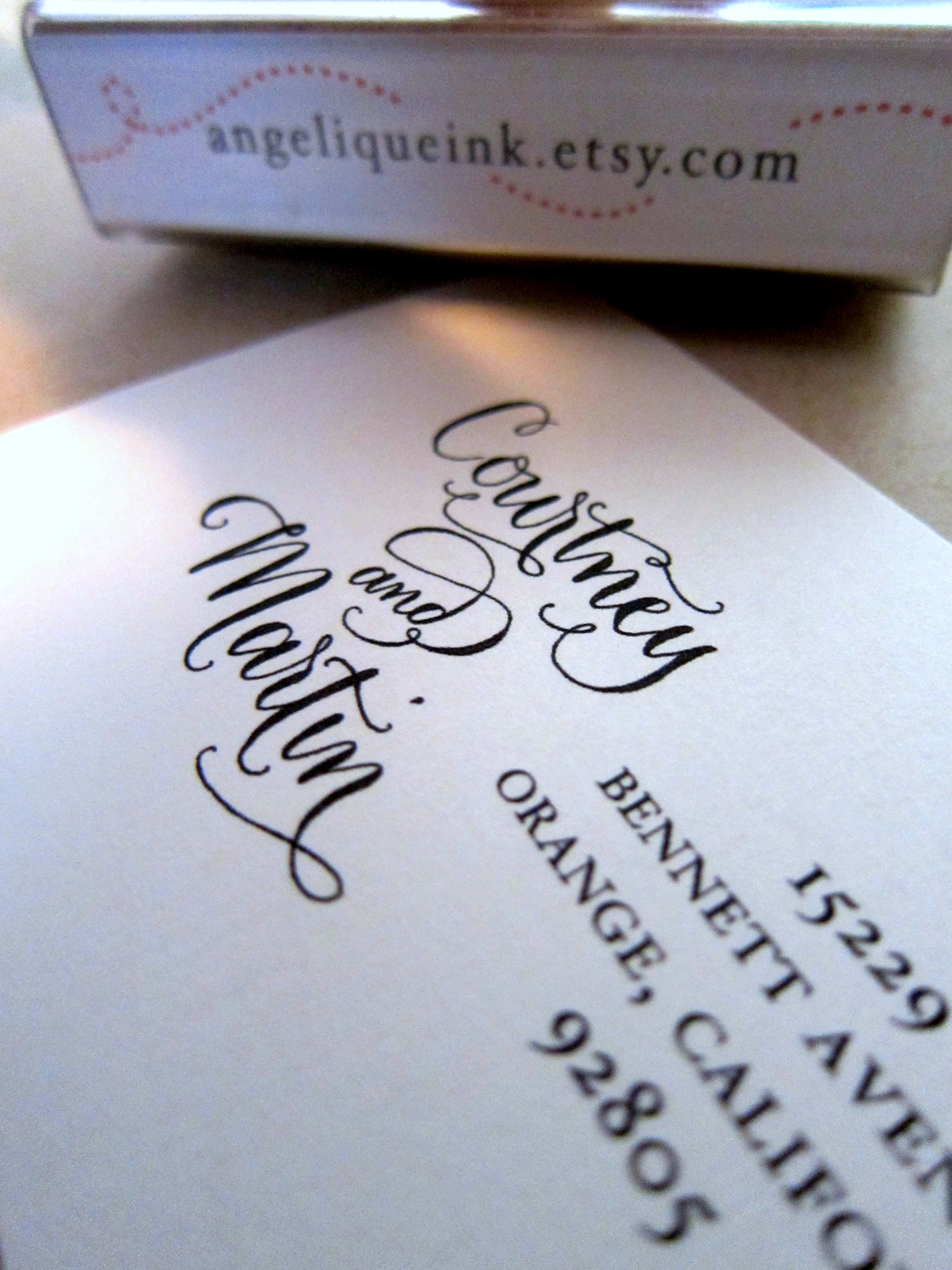 Custom Calligraphy Address Stamp Side By Side