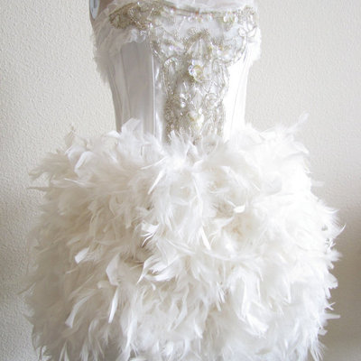 Ivory feather bridal skirt