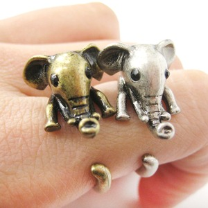 Elephant Shaped Animal Wrap Around Ring in Brass - Sizes 7 to 9 Available