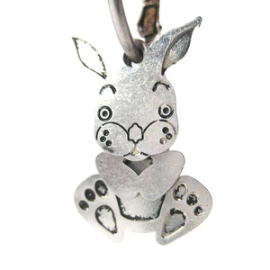 Adorable Bunny Rabbit Three Part Dangle Earrings in Silver