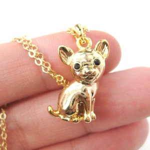 Super Cute Chihuahua Puppy Dog Animal Pendant Necklace in Gold