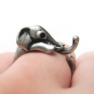 Miniature Elephant Wrap Ring in Silver Sizes 4 to 10 Available