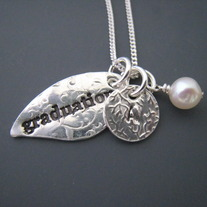 Graduation & Initial Necklace, Pearl of Wisdom