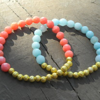 Gold Spacer Jade or Coral Bracelet