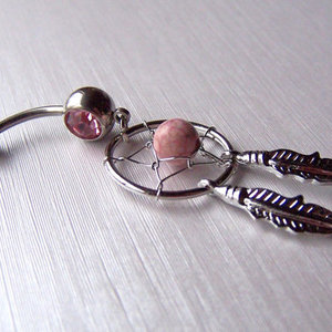 Pink Dream Catcher Belly Ring