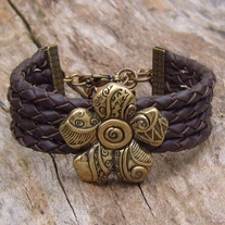 Antique Brass Flower and Leather Bolo Cord Cuff Bracelet
