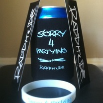 Radditude Party Pack - Sorry 4 Partying Koozie, Wristband, and 2 Stickers (Free Shipping)