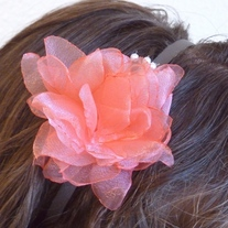 Coral Flower Headband with Pearl Sprays - Thumbnail 2