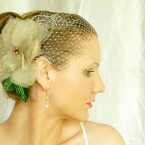 Lovely Flower Taupe Organza Headpiece  - Thumbnail 2