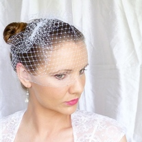 White Birdcage Veil 9 inches - Thumbnail 1