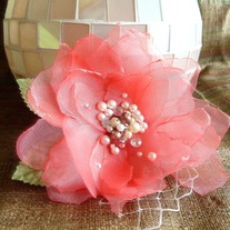 Coral Hair Flower with Pearls  - Thumbnail 3