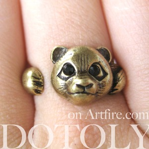 Miniature Panda Ring in Bronze - Sizes 5 through 8 available