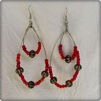 Silver Metal and Red Bead Earrings