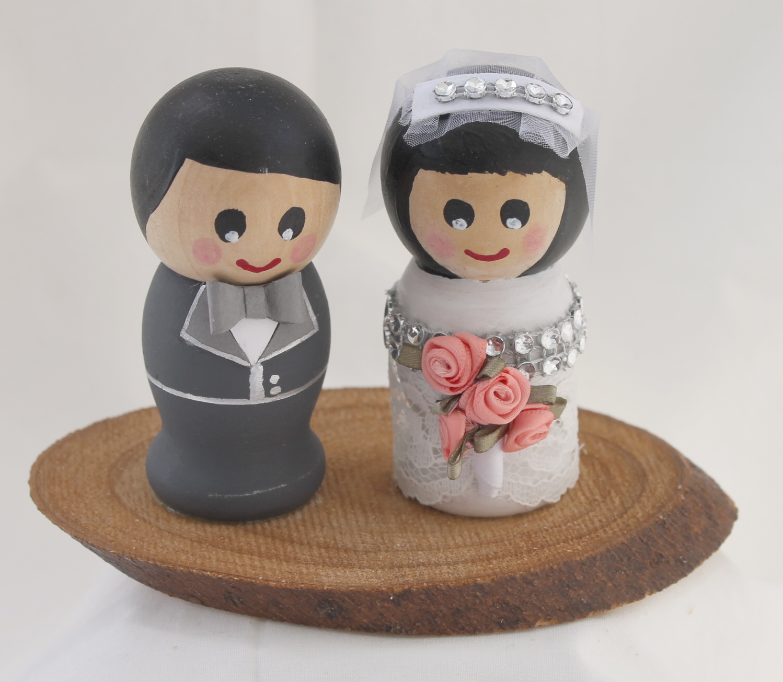 Artist Wedding Cake Toppers : Handmade/ Hand Painted Bride and Groom Wood Wedding ...