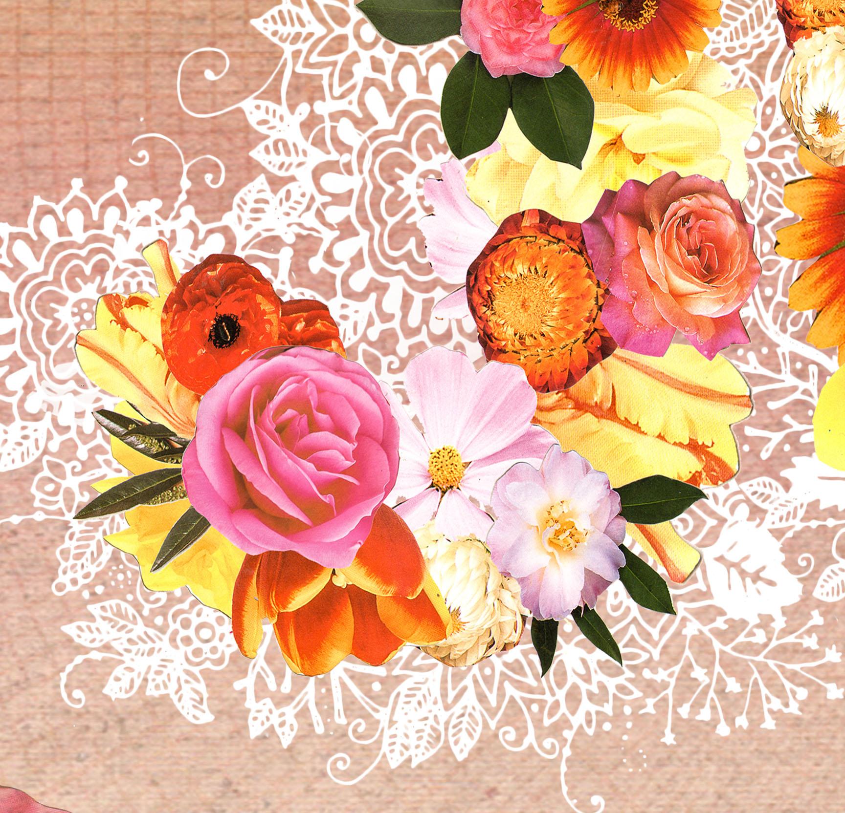 Choose Joy 16 X 20 Paper Print Flowers Hummingbirds Mixed Media