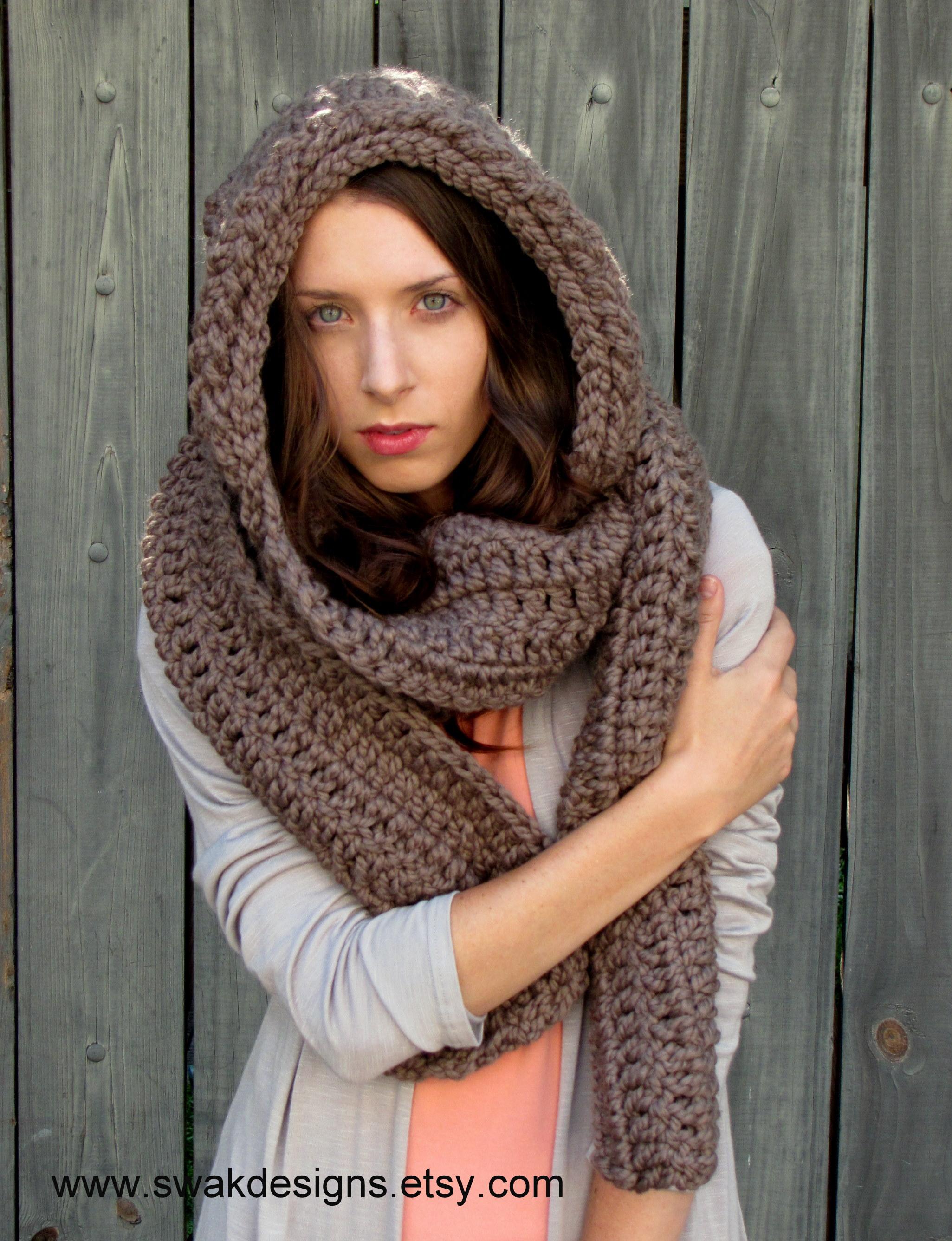Oversized Hood Knitting Pattern : SWAKCouture Oversized Hooded Scarf, The Lofty Wool ...