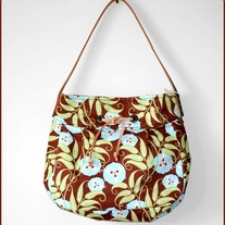 50s Inspired Hobo Bag without FLAP - Brown Vines