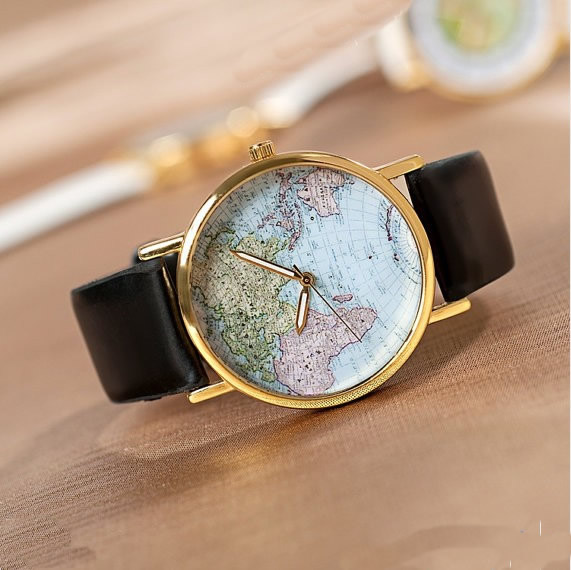 Stan Vintage Watches World Map Wrist Watches Mens Wrist watcheses Unisex Wa