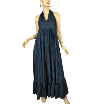 Halter Dress on Maxi Dresses Wonmen S Dresses Denim Dresses