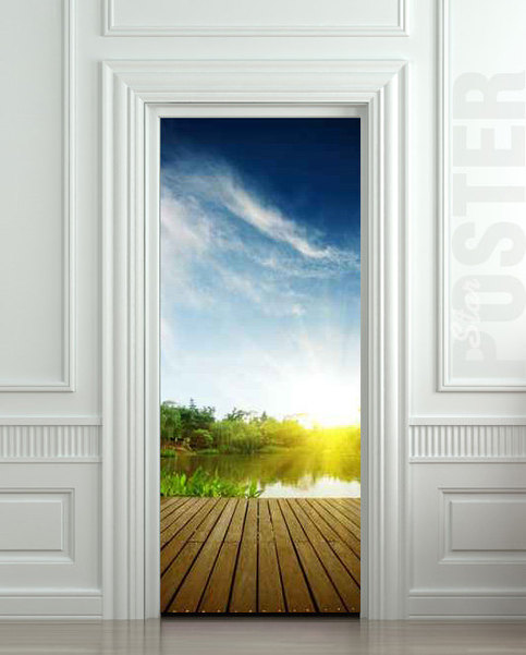 Wall door sticker natural resources landscape river for Mural film