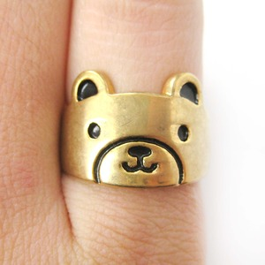 Simple Teddy Bear Face Shaped Animal Ring in Gold | Size 6 Only
