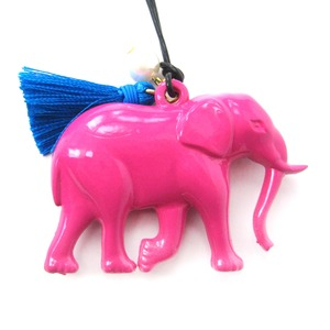 Colorful Elephant Large Statement Animal Pendant Necklace in Pink