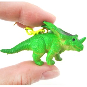 3D Triceratops Dinosaur Animal Figurine Dangle Earrings in Green
