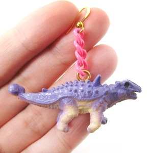 3D Scolosaurus Dinosaur Animal Figurine Dangle Earrings in Purple