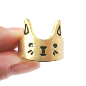 Simple Bunny Rabbit Face Shaped Animal Ring in Gold | Size 6 Only