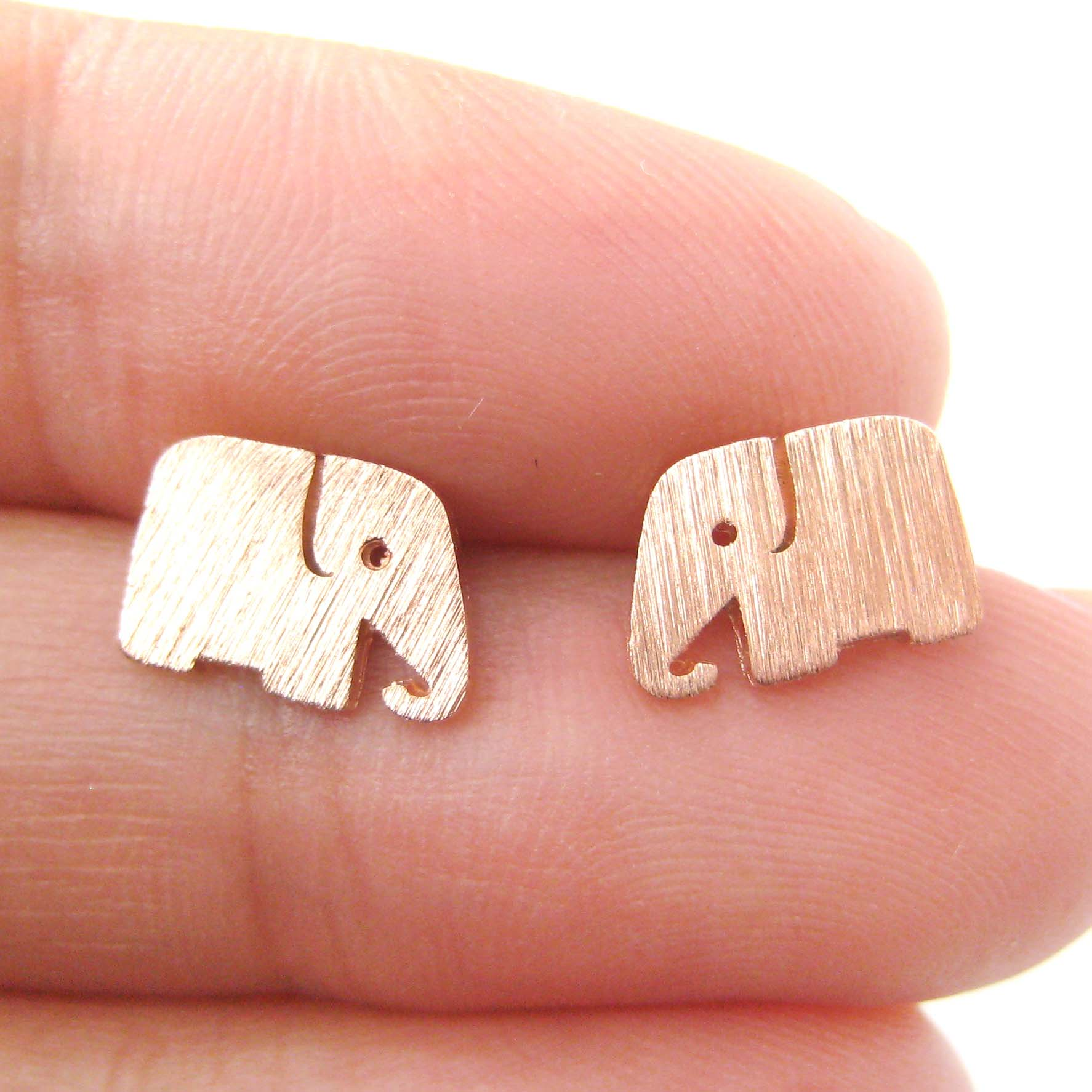 small elephant shaped animal stud earrings in rose gold