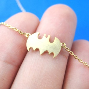 Classic Batman Bat Logo Shaped Charm Bracelet in Gold