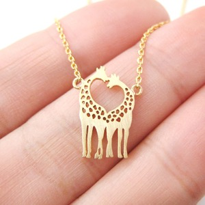Mother and Baby Giraffe Shaped Animal Themed Charm Bracelet in Gold