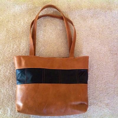 Large light brown leather tote