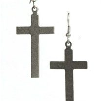 Large Antique Silver Cross Earrings