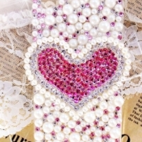 iphone 4G Design #328, New Bling Crystal Big Pink Rhinestones Heart iPhone 4/4S Case