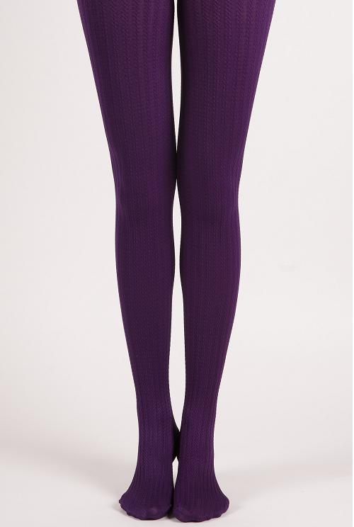 Warm Cable Knit Pattern Shape Control Tights Purple Miss Olina