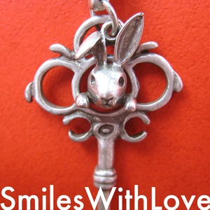 Alice Inspired Bunny Animal and Antique Key Necklace in Silver