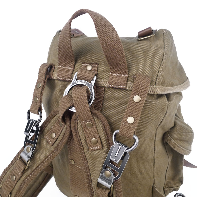 Men's Handmade Vintage Crazy Horse Leather Canvas Backpack ...