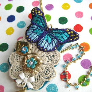 Butterfly Brooch and Necklace with Lace and Floral Detail
