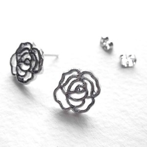 Rose Floral Cut Out Stud Earrings in Silver