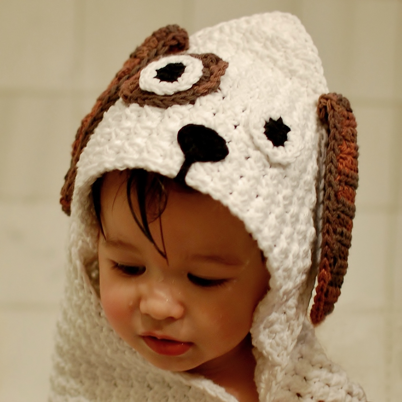 Crochet Pattern For Dog Blanket : Crochet Pattern - Dog Hooded Baby Towel (also makes a ...