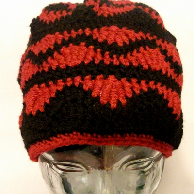 Wavy red & black crochet beanie
