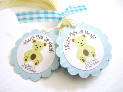 Teddy Bear Thank You Tags, Personalized