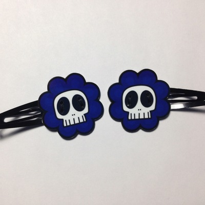 SkullyFlower Hair Clips (blue, pair)